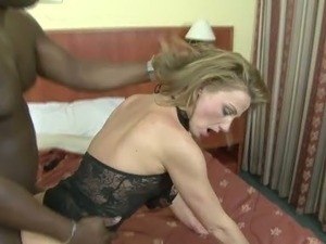 Mature Caucasian mom takes BBC deep up her butt hole in a doggy position