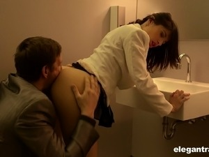Glamorous maiden with nice ass being drilled hardcore in the toilet