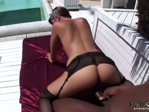 Curvy short haired brunette Coco Chamelle gets banged by BBC outdoors