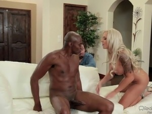 Big tit blonde mom makes her husband into a cuckold