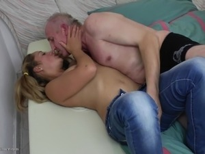 Her pigtails are cute and her pussy is wet during old man sex