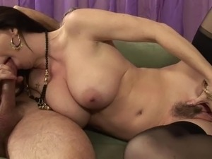 Mom with a trimmed pussy fucked hard and taking his hot cum