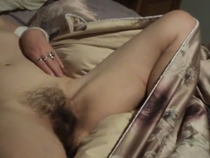 Handed step-mom displays out hairy vagina and breasts