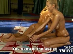 Enthralling oil wrestling with orgasm craving lesbians