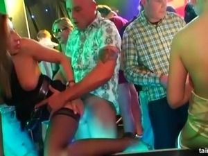 Nasty chicks sucking and riding dicks in the underground nightclub