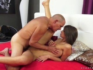 Skinny girl with sexy small titties fucks an old guy