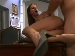 Busty secretary loves riding her boss's dick