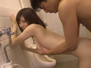 Hardcore quickie in a cramped bathroom with a hot Japanese girl