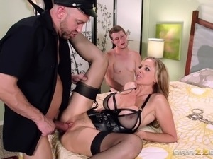 Julia Ann tries her best to satisfy two guys in MMF story sex tape