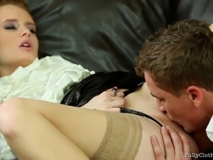 Adorable redhead lets out a moan as a big cock fills her tight pussy
