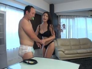 Super busty Japanese milf Reiko Kobayakawa gives rimjob and titjob