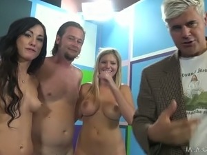 Busty and blonde are going to arrange dirty foursome fuck