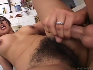 Hairy Indonesian girl getting a wild fuck from a massive white dick