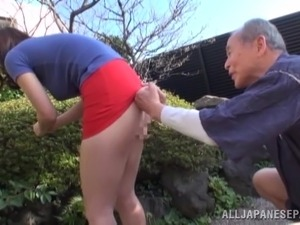 Busty Asian babe is fucked silly by an old man