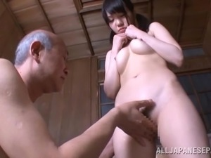 Marin Aono Pigtailed Japanese Teen Sucking an Old Man's Dick