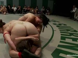 Three kinky girls in bikinis fight in Ultimate Surrender battle