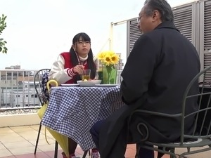 Japanese teen honey gets nasty with an older kinky man