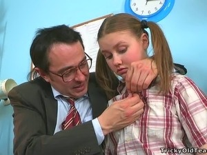 Horny aged teacher gets lusty apology from his cute student with pigtails