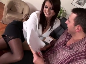 Busty redhead goddess gets pleased by two bastards