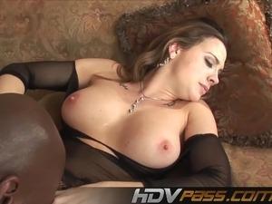 Big Boobs Brunette in stocking deep fuck a black cock nd jiz