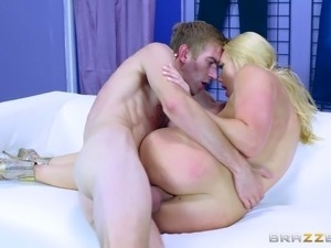 Fat schlong goes inside AJ's hole and brings her a huge pleasure