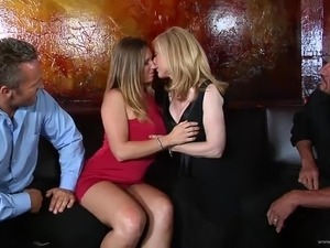 Captivating blonde with big tits in stocking getting banged doggystyle in...