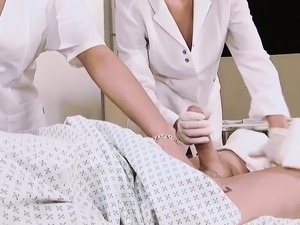 Blonde and brunette nurse fucking in hot threesome
