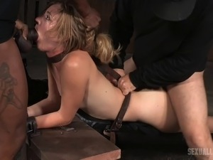 Raunchy blonde tart gets pounded hard in an MMF interracial threesome