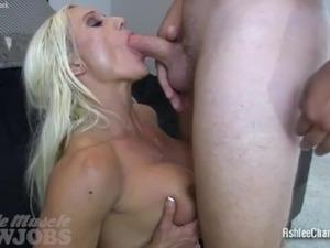 Muscle Goddess Ashlee Chambers Sucking Cock