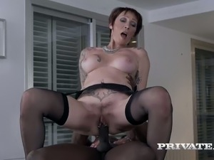 Mature white bitch fucked brutally doggystyle in interracial scene