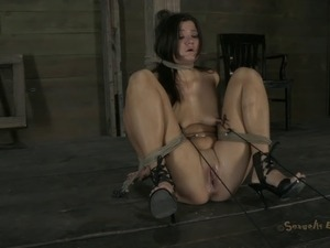Beautiful slave withstanding deepthroat smashing in BDSM