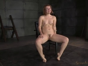 Tied up sex slave enjoys a horny man's hard cock up her holes