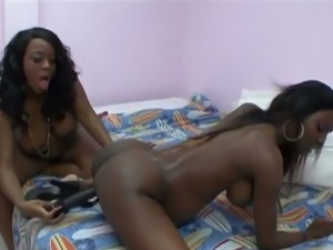 Nasty pregnant black slut with big melons pleasured by her friend