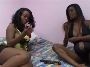 Pregnant Ebony Fondles Boobs While Getting Pussy Stimulated With Sex Toys