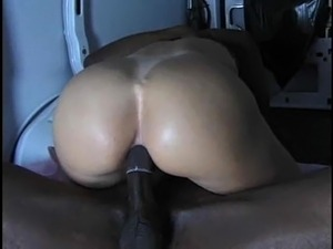 Pounding a black cock in the van gets her a juicy cum shot in mouth