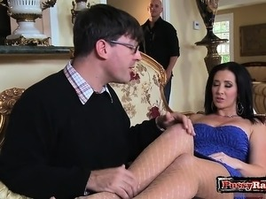 Brunette wife blowjob with cumshot