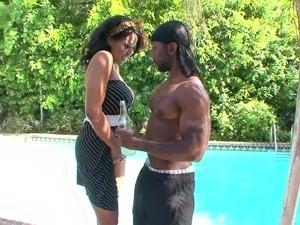 Ebony Bianca Archer has a massive black boner between her legs