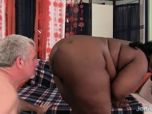 Chunky black lady with huge boobs Daphne sucks and fucks a white dick