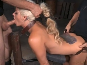 Long hair tattooed slave refined with face fucking in BDSM