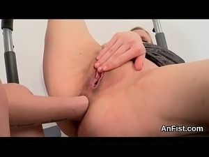 Horny lesbo models are opening up and fist fucking butt holes