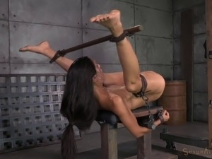 Cute bondage slave getting nasty facial cumshot in BDSM