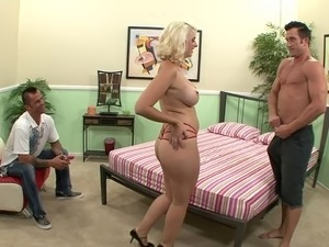 Cuckold watches his curvaceous wife fuck a big dick dude