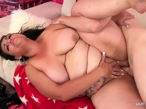Insatiable brunette plumper Angelina has a hung guy hammering her ass