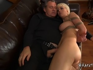 Big ass blonde slave pussy feasted with toys in BDSM porn