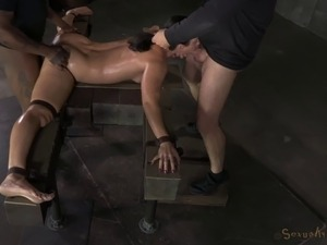 Good-looking slave girl filled with cum after being ravished hardcore