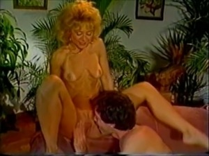 Blonde white milf with saggy boobs having sex on the couch