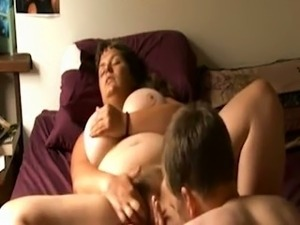 Big boobed German mom moaning when I eat her out