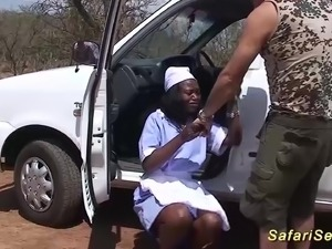 Hot chocolade big natural breast african housewife fucked at my wild sex safari
