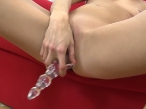 Amateur blonde mom plays with favourite toy