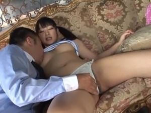 Nana Usami gets her hairy Japanese twat toyed to orgasm
